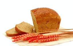 Rye bread. And wheat ears Royalty Free Stock Photo