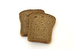 Rye bread. Slices on white background Royalty Free Stock Photography