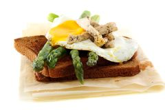 Rye bread with asparagus, eggs and turkey. Royalty Free Stock Photo