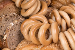 Rye bread and bagels Royalty Free Stock Images