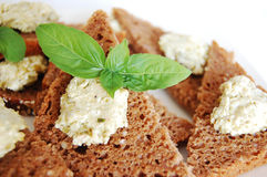 Rye bread and broad bean paste Stock Images