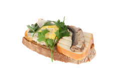 Rye-bread with canned fish, cheese and egg Royalty Free Stock Images