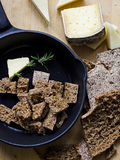 Rye Bread and Cheese. Rye Croutons, Butter, Rosemary and Cheese Royalty Free Stock Photos