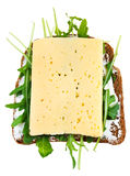 Rye bread, cheese and fresh arugula sandwich Stock Photos