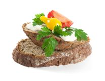 Rye bread with cheese and herbs Royalty Free Stock Photos