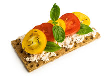 Rye bread with cheese, tomatoes, basil and thyme Royalty Free Stock ...