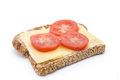 Rye bread with cheese and tomatoes royalty free stock photos