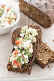 Rye bread with cheese and vegetables, top view Royalty Free Stock Image