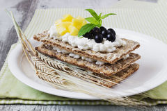 Rye bread with cottage cheese Royalty Free Stock Photo