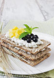 Rye bread with cottage cheese Stock Image