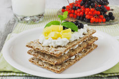 Rye bread with cottage cheese Royalty Free Stock Photos