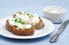 Rye bread with cream cheese and dill Royalty Free Stock Photo