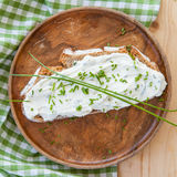 Rye bread with cream cheese Stock Photos