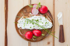 Rye bread with cream cheese Royalty Free Stock Photo