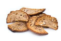 Rye bread crisps with walnuts. Stock Photo
