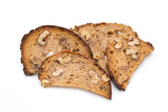 Rye bread crisps with walnuts Royalty Free Stock Images