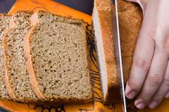 Rye bread, cutting on a chopping board Stock Image