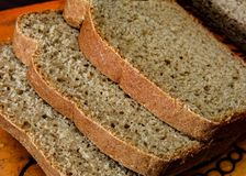 Rye bread, cutting on a chopping board Stock Photo