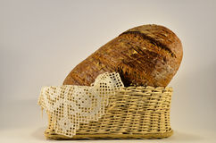 Rye bread and decorative spanish tablecloth Royalty Free Stock Image