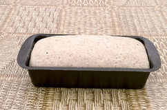 Rye bread dough in the baking mold Royalty Free Stock Image