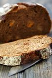 Rye bread with dried apricots close-up. Stock Image