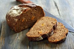 Rye bread with dried apricots and nuts. Stock Photo