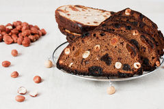 Rye bread with dried fruits and nuts. Royalty Free Stock Image