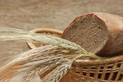Rye bread and ears of corn in basket Stock Images
