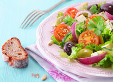Rye bread and feta salad Royalty Free Stock Images