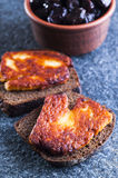 Rye bread with fried halloumi cheese Stock Image