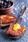 Rye bread with fried halloumi cheese Royalty Free Stock Image