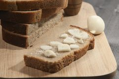 Rye bread with garlic and salt Stock Photography