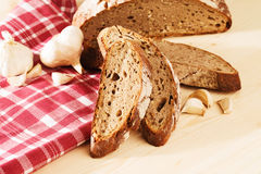 Rye bread with garlic and a towel Stock Photo