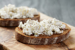 Rye bread grated with garlic and ricotta cheese Royalty Free Stock Image