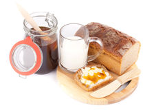 Rye bread with honey nad milk Royalty Free Stock Photo