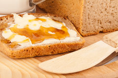 Rye bread with honey nad milk Stock Photos