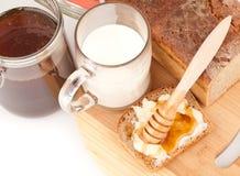 Rye bread with honey nad milk Stock Photo