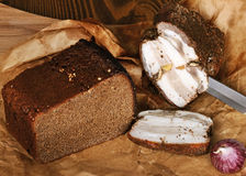Rye bread with lard Stock Image