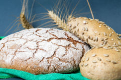 Rye bread loaves and wheat plant. On tablecloth Stock Photography