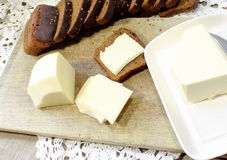 Rye bread with butter and cheese Stock Image