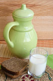 Rye bread and milk Royalty Free Stock Images