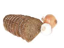 Rye bread, onion and garlic Royalty Free Stock Photo