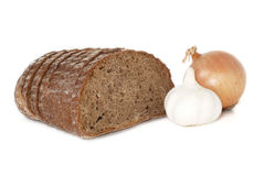 Rye bread, onion and garlic Royalty Free Stock Images