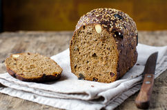 Rye bread with prunes and nuts Stock Images