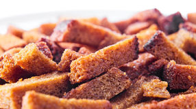 Rye bread roasted with salt and vegetable oil. Snack for beer Stock Photo
