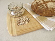 Rye bread with rye croats and seeds Stock Photos