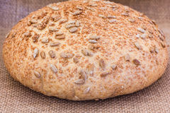 Rye bread on sackcloth Stock Image