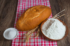 Rye bread, salt and flour Stock Photos