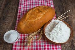 Rye bread, salt and flour Stock Photos