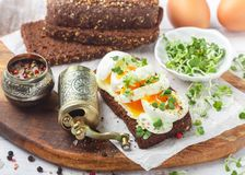 Rye bread sandwich with boiled egg, cheese, freshly ground pepper and daikon or radish sprouts. Delicious gourmet Breakfast. Selective focus stock image